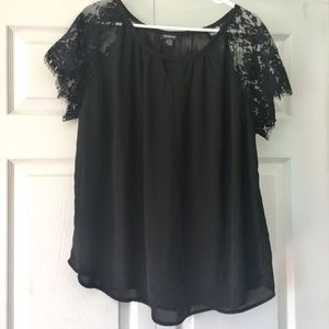 Torrid Black Lace Sleeve Top Size 2X